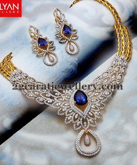 Jewellery Designs: Blue Sapphires Sparkling Diamond Set