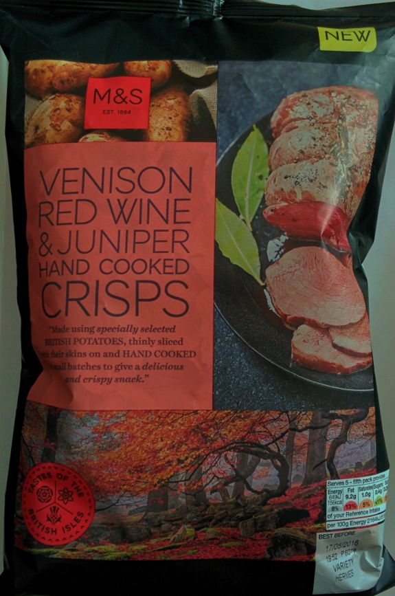 A bag of venison, red wine, and juniper hand-cooked crisps, bought from Marks and Spencer.