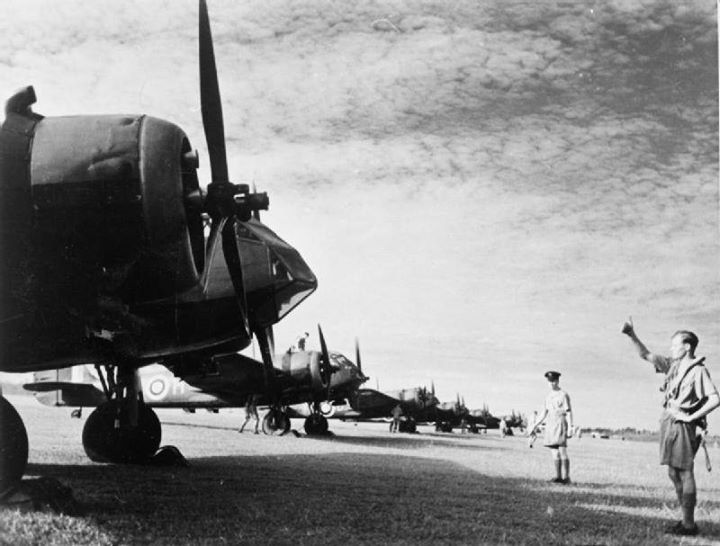Bristol Blenheim bombers of No. 62 Squadron RAF lined up at Tengah Singapore 8 February 1941.