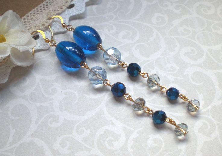 Extra long blue earrings, Blue cascade earrings, Ocean blue earrings, Long blue earrings, Sea blue earrings, Super long blue earrings by MrsBeadyEyes on Etsy