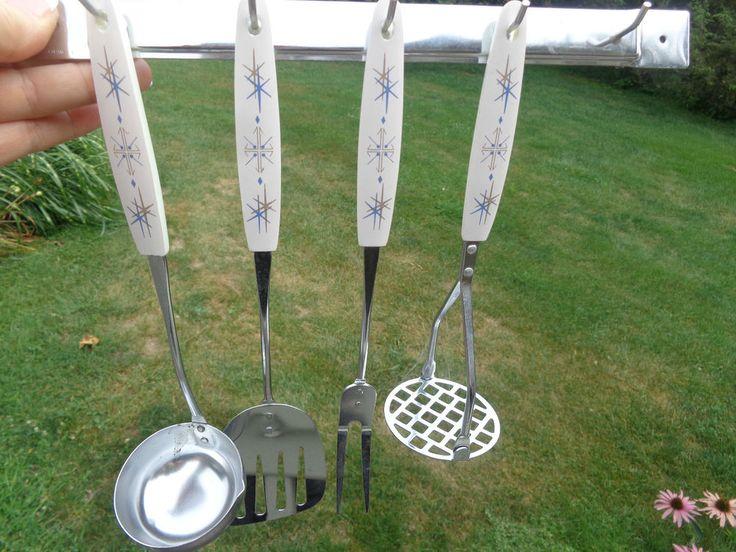4 Vtg JAPAN Atomic Starburst Mid Century Modern Spatula-Spoon-Ladle-Fork-w-Rack in Collectibles, Kitchen & Home, Kitchenware | eBay