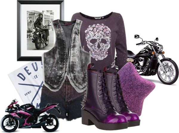 """""""biker girl"""" by inesthesaint ❤ liked on Polyvore"""