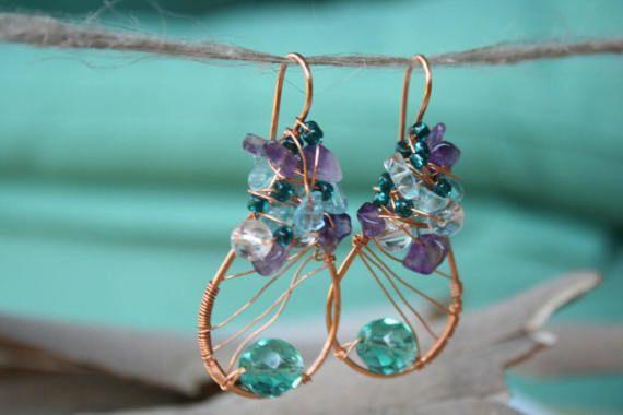 Purple Teal Lavender Copper Earrings Big Teardrop Earrings