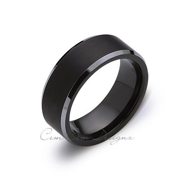 8mm,New,Unique,Black Gun Metal Gray Bushed,Tungsten Rings,Wedding Band,Matching