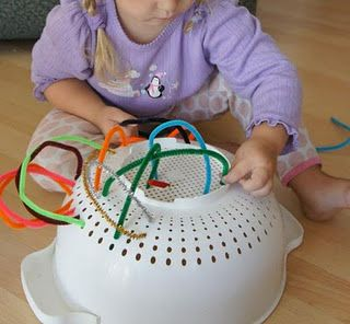 Strainer sewing - Fine motor - Keeping occupied :) This looks like it would keep the boys busy for a bit...
