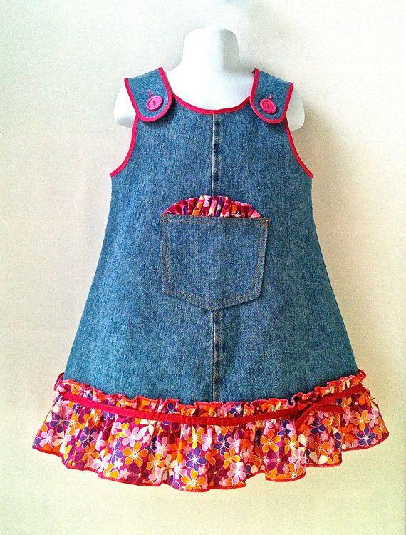Toddlers Dress Back to School Dress  Denim Dress  by 8thDayStudio, $25.00