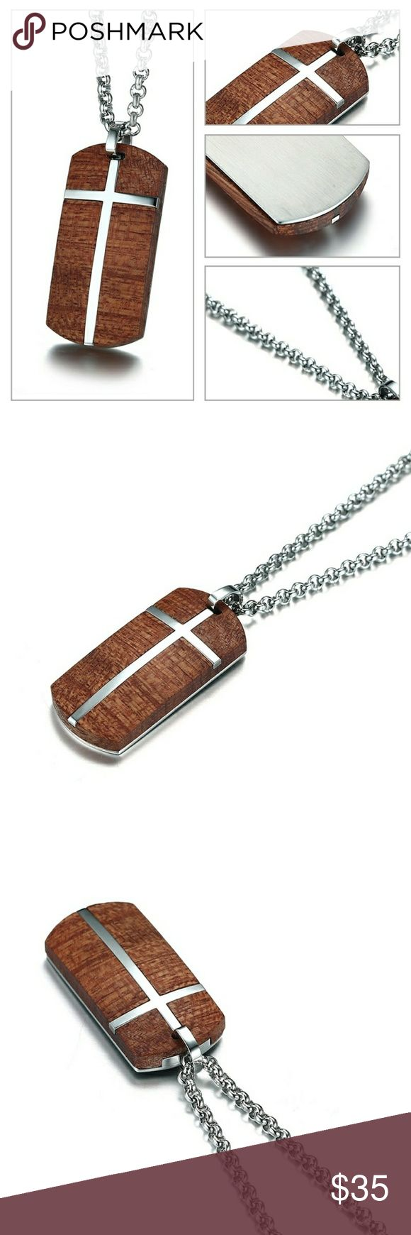 Rosewood Christian Cross Pendant Necklace High Quality Rosewood finish with a 22-44 inch Stainless Steel Chain Jewelry Necklaces