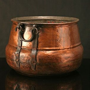 "Antique Copper Cauldron - solid copper. Approximately 13""h x 19""dia."