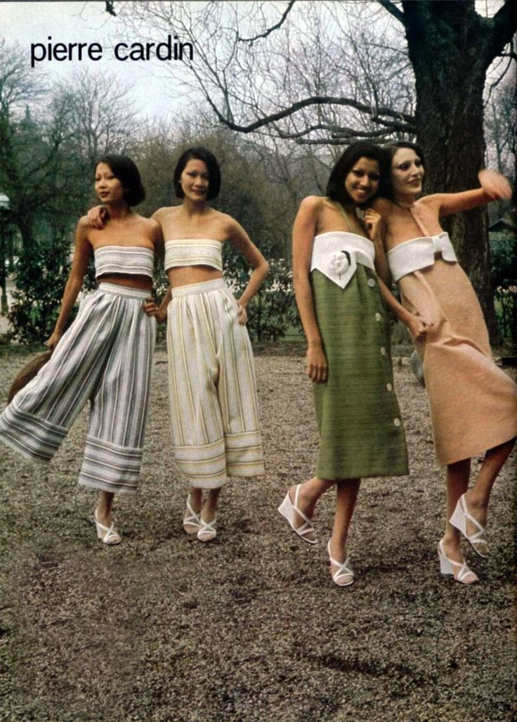 Pierre Cardin L'Officiel magazine 1975 showcases different types of outfits. I have not seen this outfits get too popular in their day but have seen these pants worn today. The large pants remind me of gauchos and the other dresses have no shape. The no shape is not very attractive for women's figures. Colette Smith 4-11-17