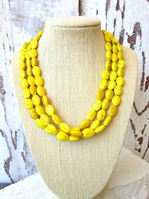 Triple Strand Yellow Necklace. Yellow Howlite Adjustable Statement Necklace. Multi Strand Yellow Jewelry. Beadwork Necklace