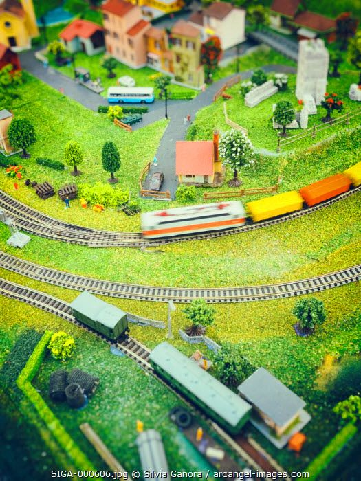 Model train speeding on tracks on a model railroad layout with houses, vehicles and trees - ©Silvia Ganora Photography - All Rights Reserved  #bookcovers #toys #train