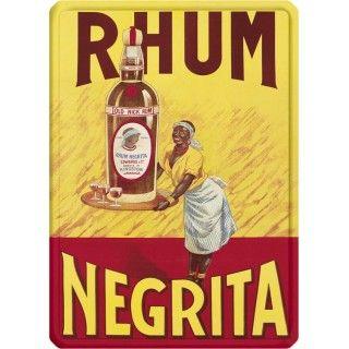 """Plaque métal """"Rhum Negrita"""" 15 x 21 cm"""