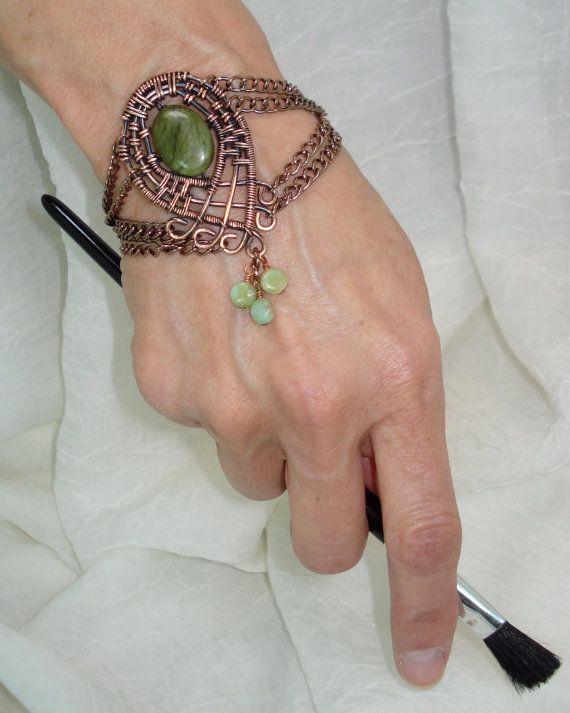 Moroccan Style Bracelet Green Marble Opal by JanetMarieJewelry