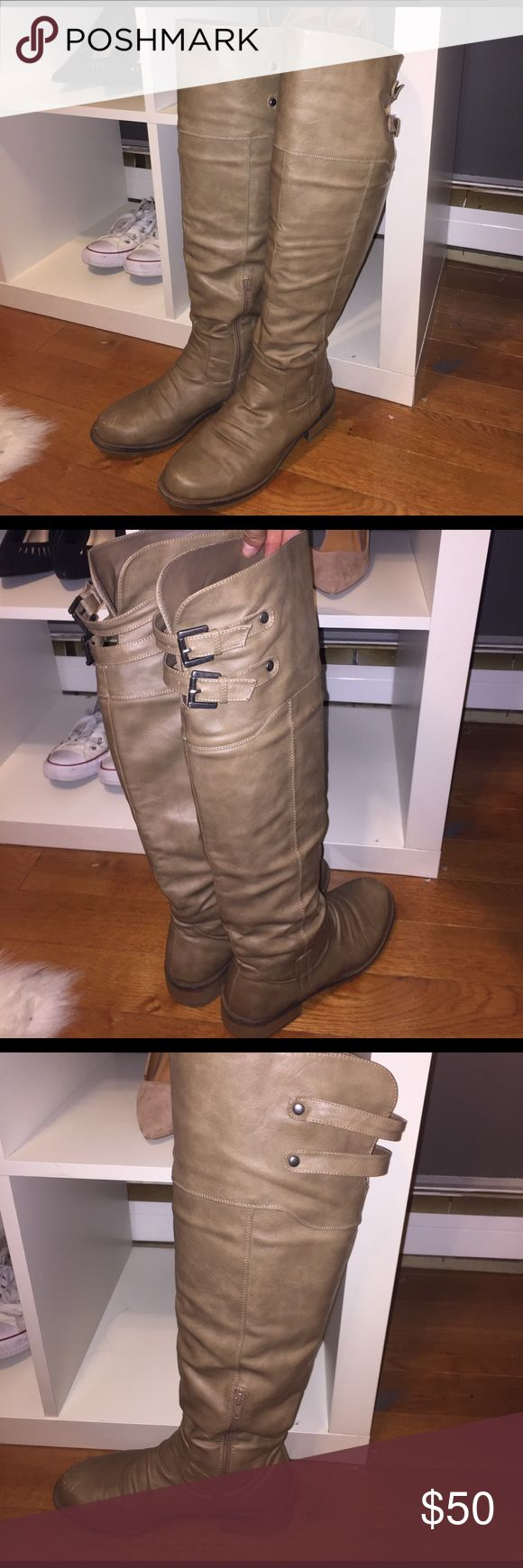 """Tan Knee High Riding Boots Tan Knee High Boots   Size 9   adjustable Buckles on calve area - good for people with larger calves.  Small scuff on the right toe as seen in pics. Purchased from Venus Catalog. Inside zip at mid-calf 1.5"""" heel 16"""" calf circumference Polyurethane. Imported Shoes Over the Knee Boots"""