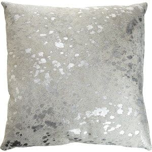 Buy Silver Metallic Cowhide Area Rug by Pergamino - Quick Ship designer Accessories from Dering Hall's collection of Contemporary Pillows.
