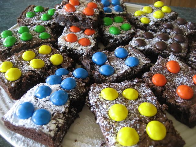 Lego brownies with peanut butter M also put colored icing on top before placing M on