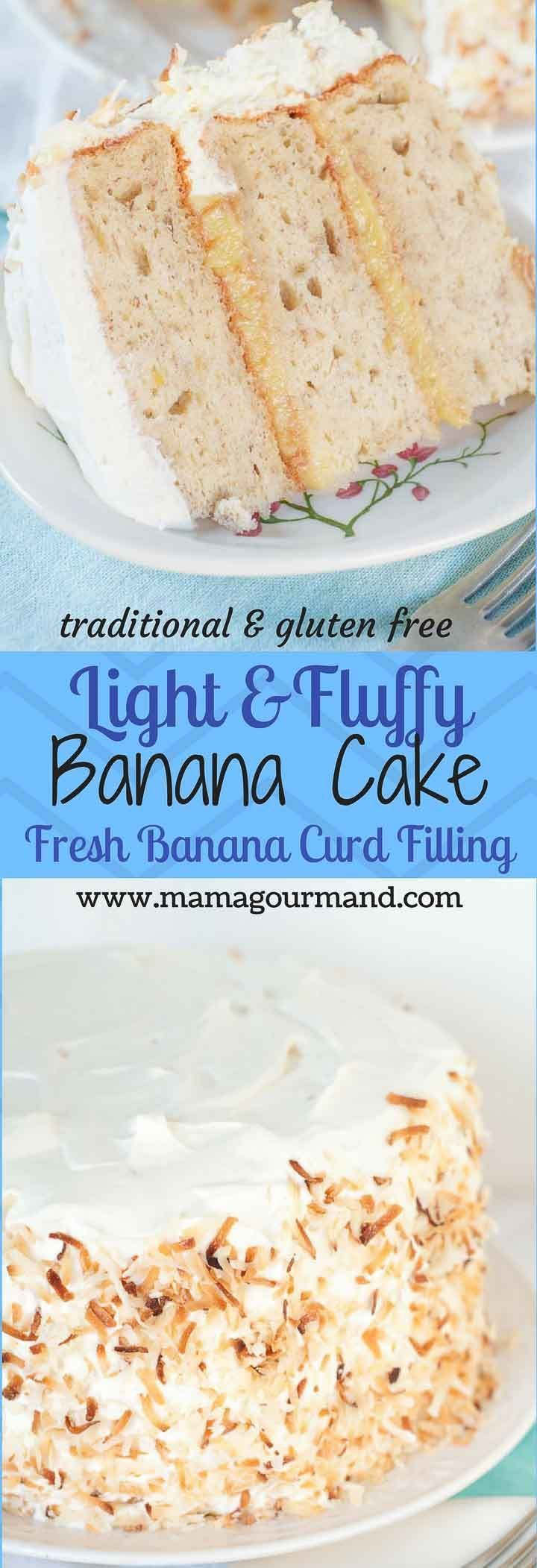 Light, Fluffy Banana Cake with Fresh Banana Curd Filling has airy cake layers with a homemade fresh banana curd filling and whipped cream frosting. http://www.mamagourmand.com