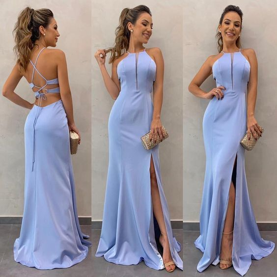 Simples Formal Evening Pretty Prom Dress Com Slit   – Boda