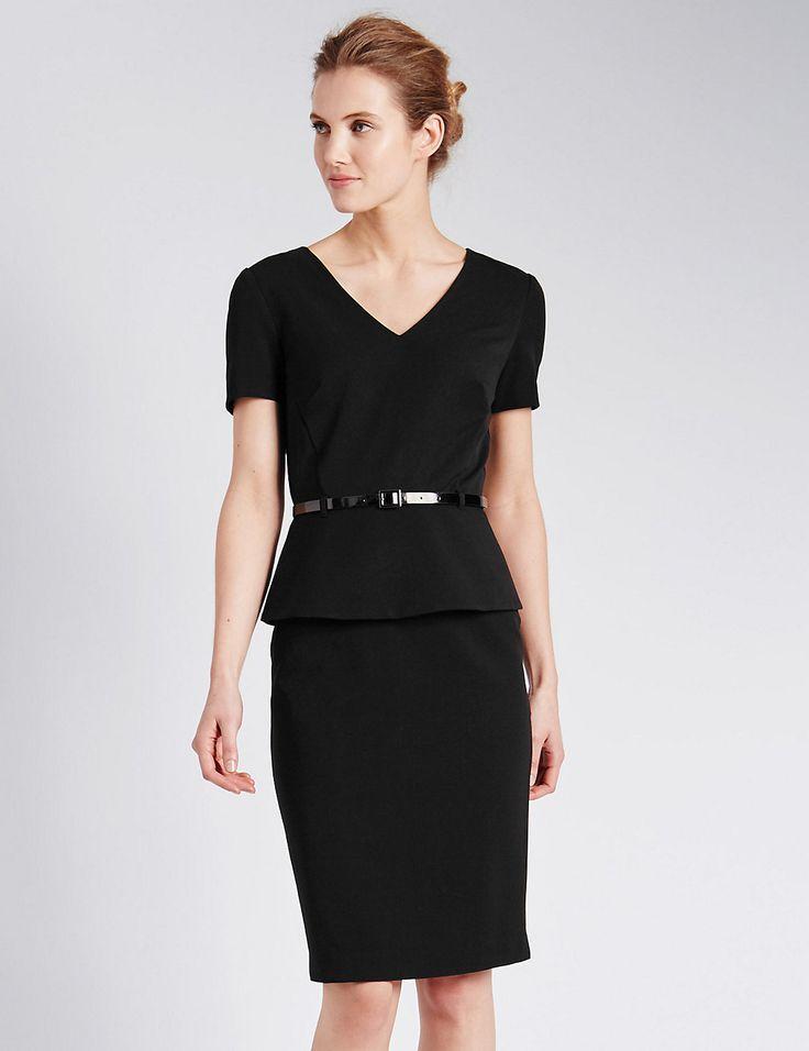 peplum shift dress with belt marks amp spencer london