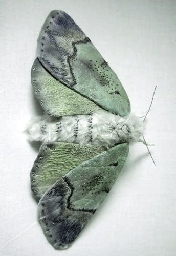 Yumi Okita  -  https://www.etsy.com/listing/172676295/fabric-sculpture-large-turquoise-moth  -  -  http://www.thisiscolossal.com/2014/07/textile-moth-and-butterfly-sculptures-by-yumi-okita/