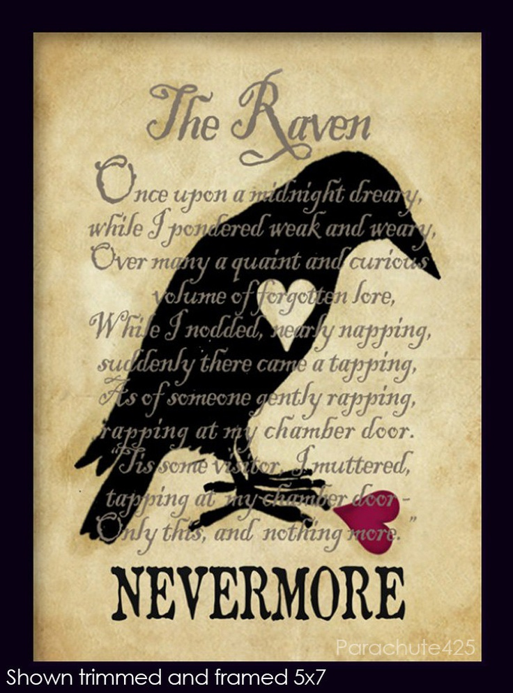 "Crows Ravens:  ""Nevermore, The #Raven,"" 8x10 print, Poe, poetry, literature, goth, macabre decor, Halloween."