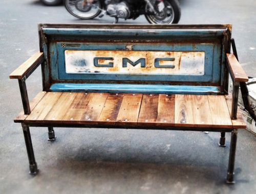 of Yesterday Reclaimed - each bench is made Of found tailgates and reclaimed barn wood