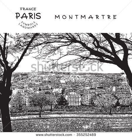 Panoramic View of Paris, France. Vector illustration.