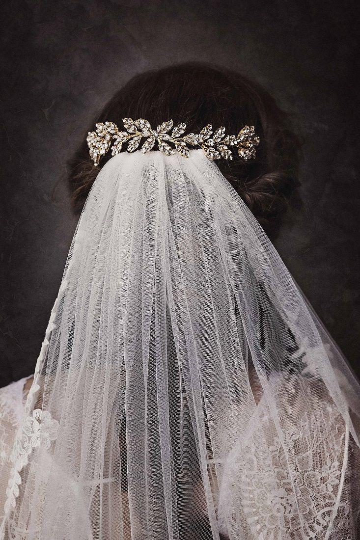 bristol golden crystal embellished leaves bridal hair comb
