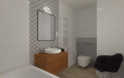 Projekt wnętrza łazienki dla mieszkania pokazowego przy ul. Słonecznej w Bydgoszczy