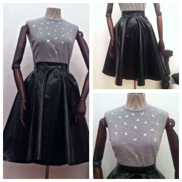 Beautiful cozy fleece top paired with a dramatic full black vinyl skirt. Available size in Showroom: 36 European.