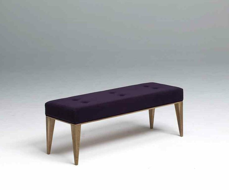 The Royal Room bench forms part of this stunning room range in American walnut. A free-standing piece available in one size, upholstered in a purple fabric. #bench #contractfurniture #hotel #furniturefusion