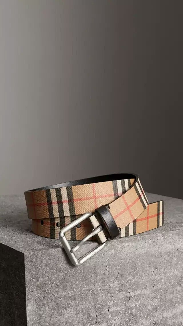 cb0b6558bb4a BURBERRY Vintage Check Leather Belt