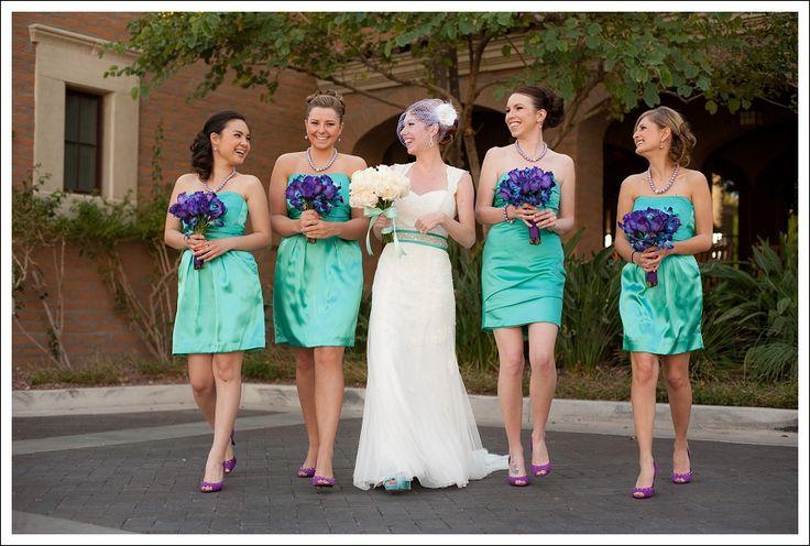 turquoise and purple: Bride Maids, Turquoise, Color Schemes, Color Combos, Bridesmaid Dresses, Purple Weddings, The Dresses, Gold Shoes, Weddings Color