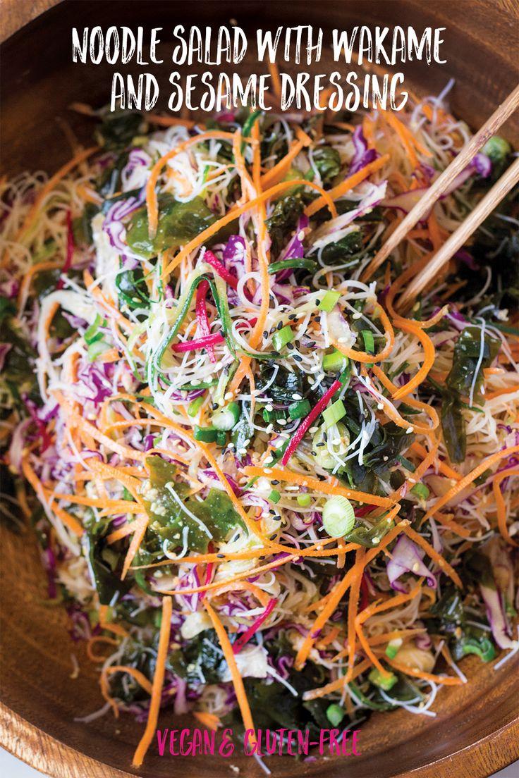 Vegan rice noodle salad with sesame dressing