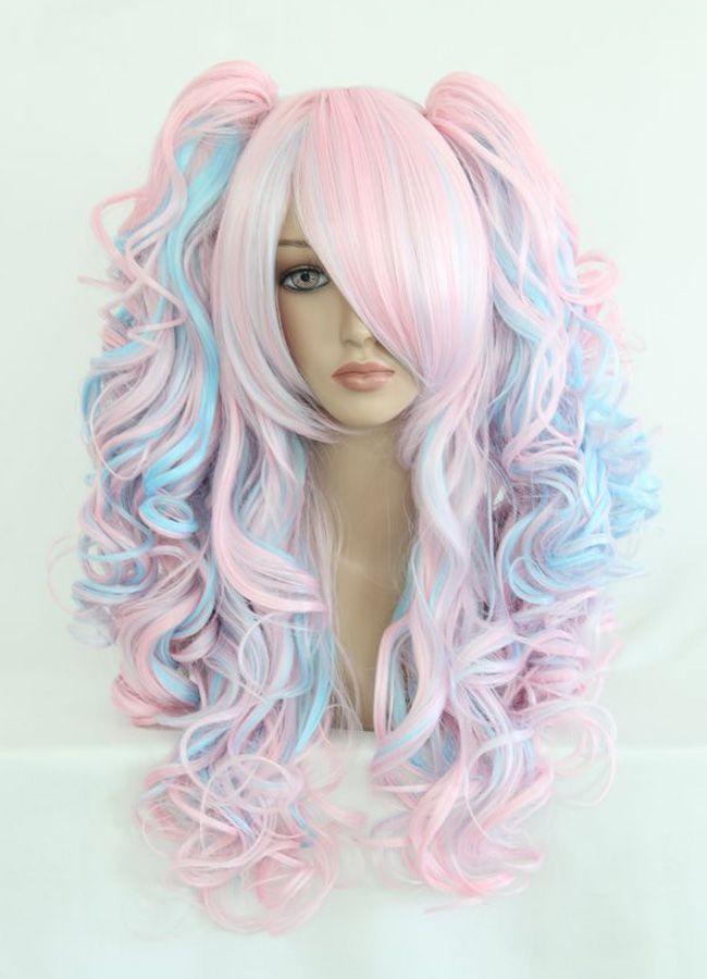 Cabelo algodão doce Rosa claro, azul claro e tons de lilás- franja lisa, cacheado-3