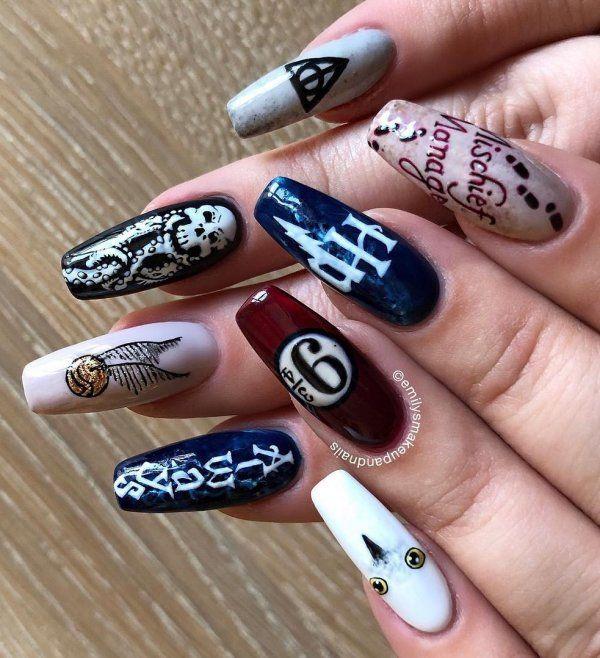 #harrypotter #harrypotternails #nailart #nailartdesigns #symbols