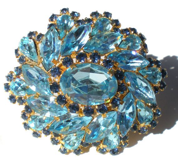 Vintage Rhinestone Jewelry Brooch In Aqua Blue & by RibbonsEdge