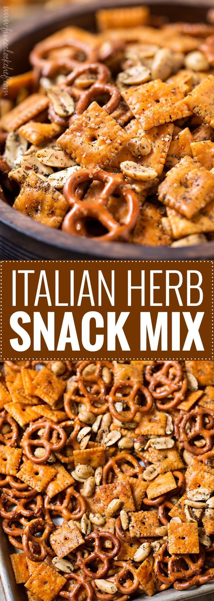 Easy Italian Herb Snack Mix   Baked to buttery perfection, this Italian herb snack mix is the perfect after school or party snack. No need to eat bagged snacks, homemade is really easy!   https://the5oclockchef.com   #snackmix #snacks, #partyfood #chexmix #italianherb