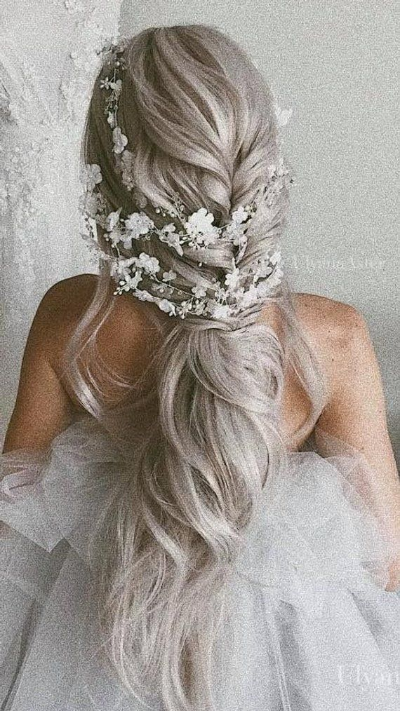 Bridal Flower Hair vine Extra Long Crystal and Pearl headpiece Floral hair piece Wedding wreath for