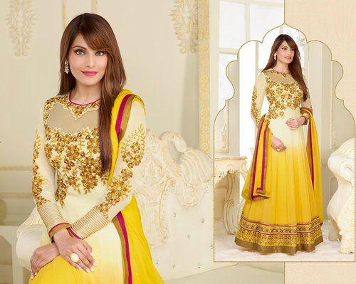 Bipasha Basu Georgette Off White & Yellow Anarkali