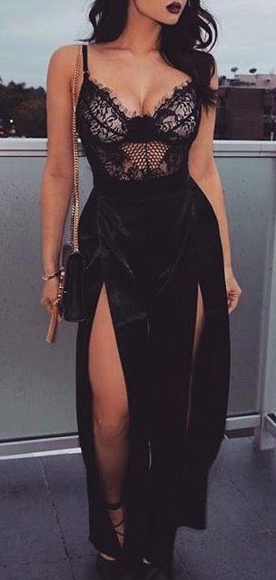 #summer #fashion / black lace dress