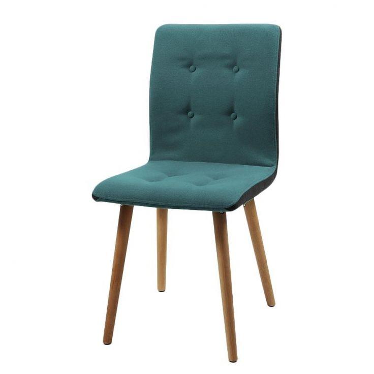 Gestoffeerde stoelen Kaja I (2-delige set) - vilt/massief eikenhout - Donkergrijs/petrolblauw