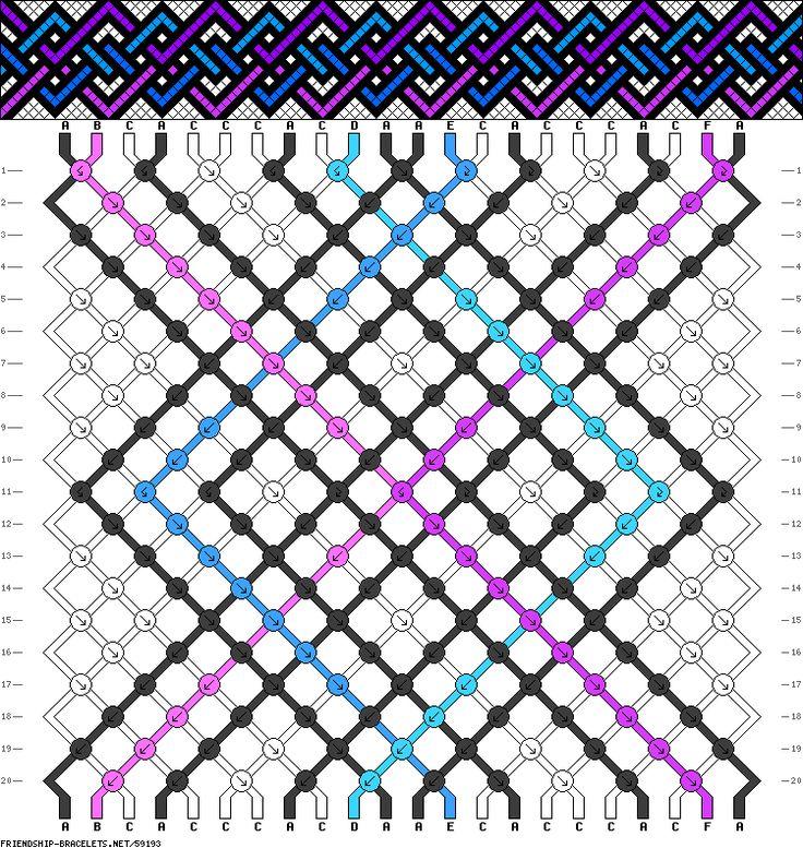 22 strings, 6 colors 8 black strings 1 pink string 1 purple string 1 teal string 1 blue string 10 white strings