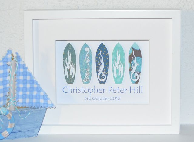 Surfing and Beach Themed Baby and Kids Gifts Personalised For Nurseries and Bedrooms