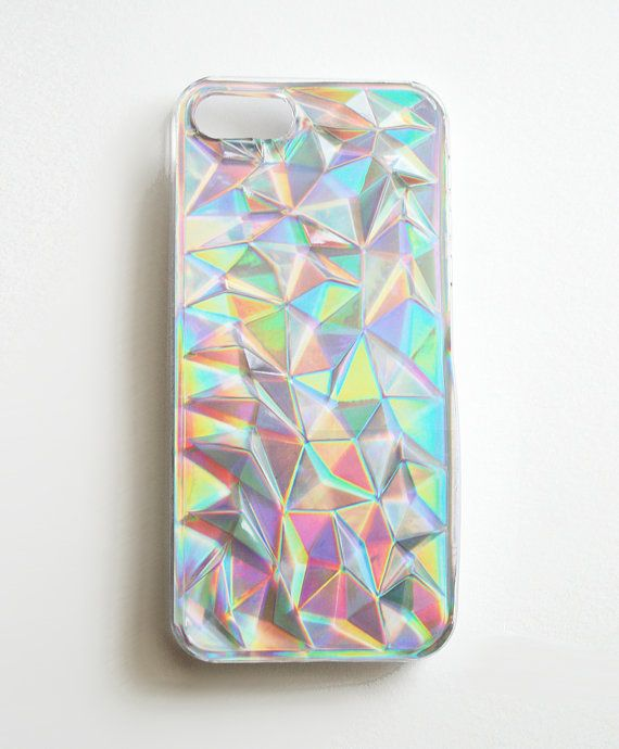 Iphone 5 / 5S Holographic Hologram Iridescent 3d Diamond Rainbow Opalescent Triangle Case Cover H&M on Etsy, $25.99
