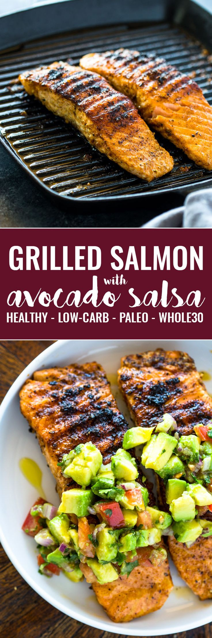 Tender salmon with cilantro, lime, avocado and tomato salsa. This healthy and flavorful meal is bursting with flavor, color, and texture and is ready in under 20 minutes. It can be grilled, pan seared or baked!