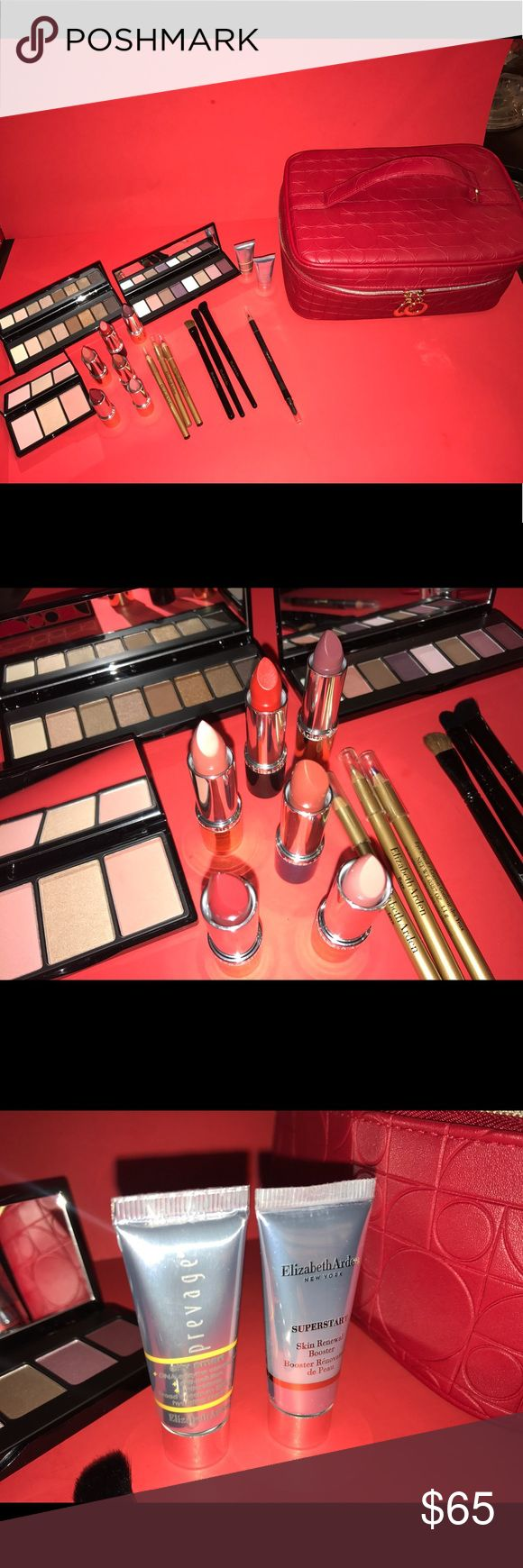 Elizabeth Arden makeup set 3 eyeshadow palettes, 6 lipsticks, 3 eyeliners, 1 lip pencil, 3 makeup brushes, skin renewal booster, city smart hydrating shield cream, and carrying case. Worth close to $200 Elizabeth Arden Makeup
