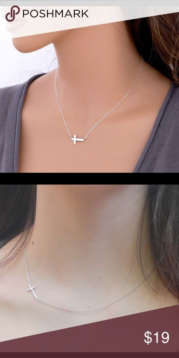 Celebrity Style Silver Sideways cross necklace Brand New Celebrity Style Small Sideways cross Necklace. Cross length : 0.8 inches. Chain : 17-18 inches, Jewelry Necklaces