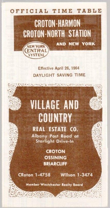 [26394] 1964 NEW YORK CENTRAL RAILROAD (CROTON-HARMON) POCKET TIMETABLE  | eBay