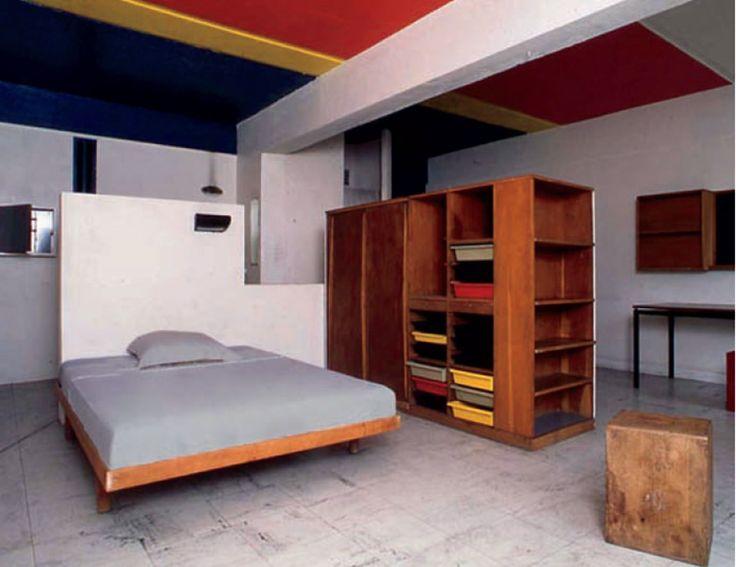 Le Corbusier and CharLotte Perriand 1887-1965, 1903-1999 Rare double wardrobe and room divider, designed for la chambre d'étudiant de la Maison du Brésil, Cité Internationale Universitaire de Paris, 1957–1959 Oak, painted oak-veneered wood, plastic, painted metal